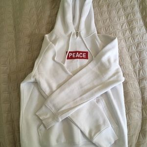 Men's H&M PEACE red box logo embroidered hoodie